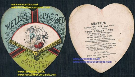 1890 Bristol South End W.N. Sharpe play up football card